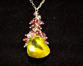 Lemon Quartz, Garnet and Sapphire Gemstone Sterling Silver Necklace