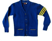 Vtg 1950's Mens Varsity Letterman Sweater Blue and Yellow Gold S M