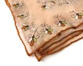 Vtg Peach and Brown Floral Scarf - Feminine Pocketwear