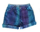 Vtg TYE DYE Levi's Cut Off Shorts Turquoise and Purple 10