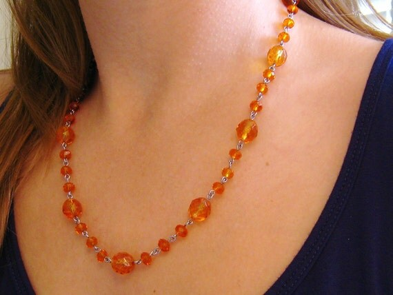 Gator inspired glam orange necklace hand beaded