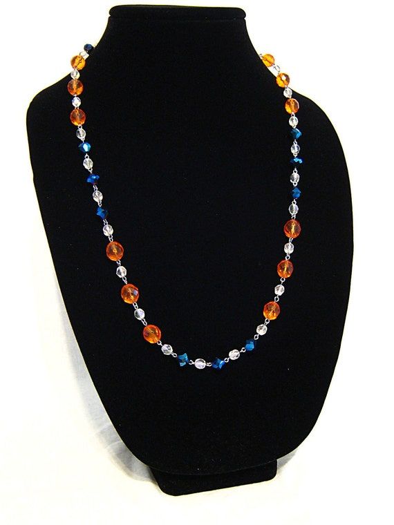 Gator inspired necklace long orange blue and white hand beaded with glass beads sterling silver clasp