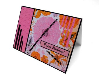 Pink floral print happy birthday blank hand made recycled fiber card