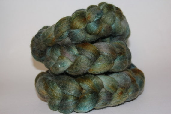 For Annette Spinning Fiber Hand Dyed 80 Merino and 20 Tussah Silk Top 4 ounces/115 grams
