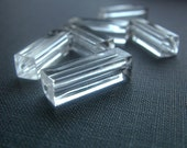 6 Vintage Lucite Clear Rectangular Beads 21x6mm