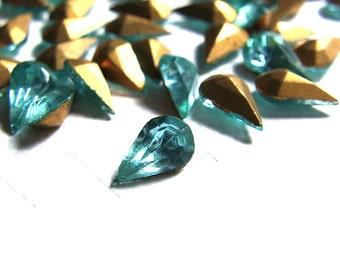 Bulk Lot - Vintage Pear Glass Jewel Rhinestones Aquamarine 8x4mm (144)