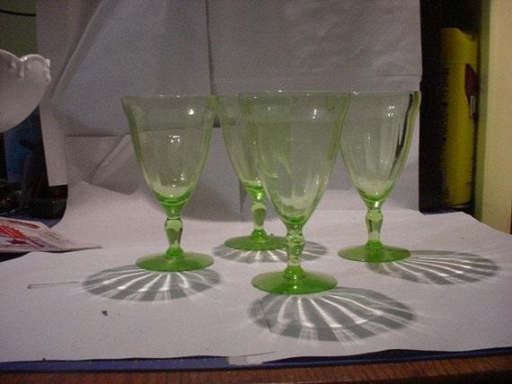 Depression Glass Light green depression wine glasses SALE