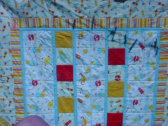 RESERVED for Twinkle777 cyn if this not you please don't purchaseTwin bed Quilt Robot Fun Quilt/Twin   87
