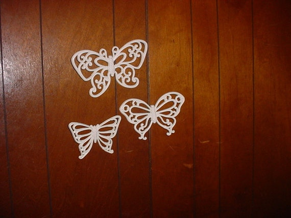 Vintage Syroco Butterfly White Hanging Wall Decor - Homco - Set of 3