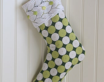 Contemporary Stocking with Hand Knit Cuff - Ready to Ship