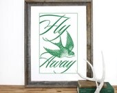 Fly Away Poster Screenprint 12 x 19 in Pick your color