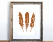Three Feathers Small Screenprint Choose your color
