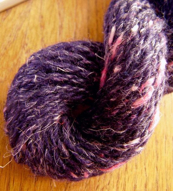 Purple with Pink HANDSPUN Skein - Wool / Cotton Yarn - 43 yds, Sport