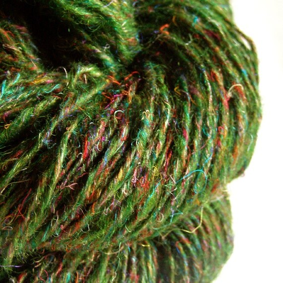 The Scent of Pine - Recycled Silk Sari Yarn - 178 yds, Worsted/Sport, Single Ply