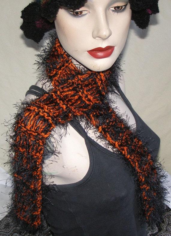 orange and black scarf handknit eyelash scarf 42
