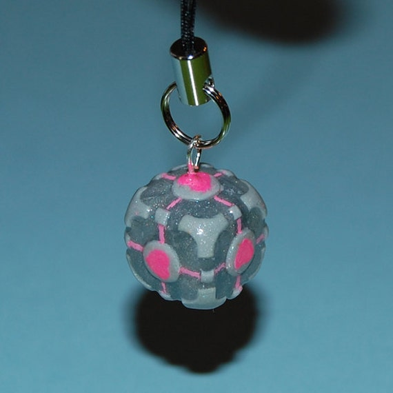 Companion Cube Cell Phone Charm from Portal UPDATED DESIGN