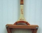 Vintage Autographed Billie Jean King Tennis Racket with Wooden Brace