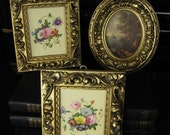 Set of Three Small Vintage Italian Gold Framed Prints