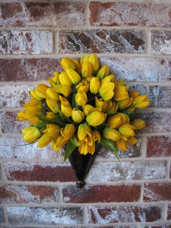 Spring Yellow Tulip  Door Wreath Wall Pocket  Wall Cone