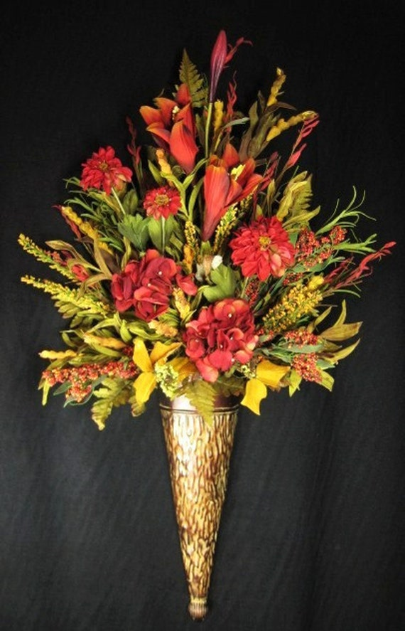 Tuscan Red and Gold Wall Cone Floral Arrangement Silk Flowers on Silk Flower Wall Sconces Arrangements id=74908