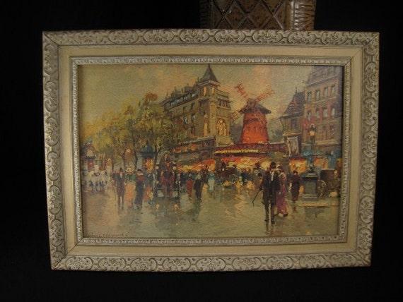 Vintage Framed Paris Moulin Rouge Print by Antoine Blanchard Paris Apt Style