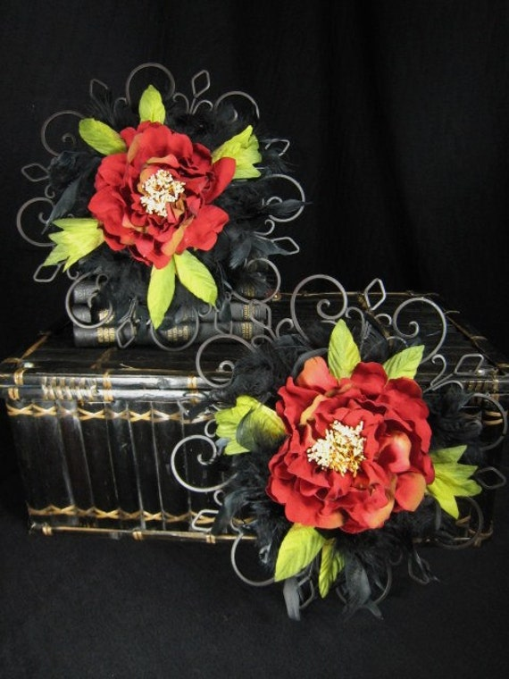 Pair of Large Red Peony Black Iron Scrollwork Wall Floral Arrangements