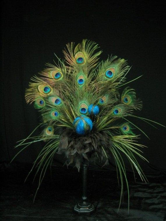 Peacock feather ball floral arrangement