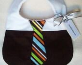 Divababies- Little Dude Business Boy Brown Multi Stripe Tie Bib