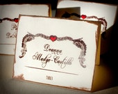 Heart Feathers Escort Card Wedding Bridal Custom Personalize Rocker Red Cream Brown Winged Heart