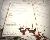 Gondola Venice Menu Cards Wedding Custom Script Italian Romantic Venetian Old World Bridal