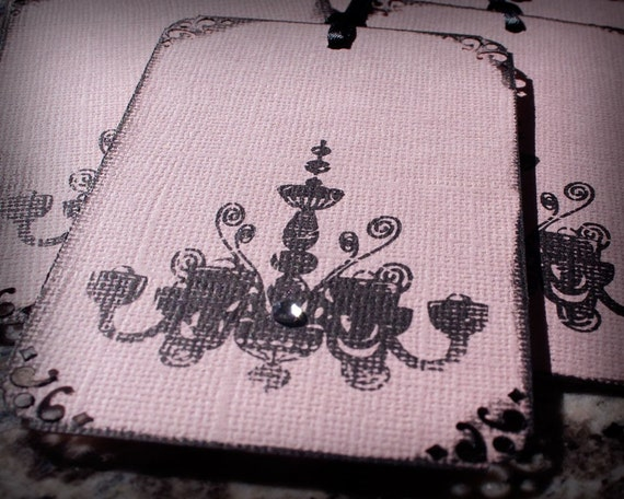 Chandelier Pink Black Gift Favor Tag set 6 Gothic Chic Girly