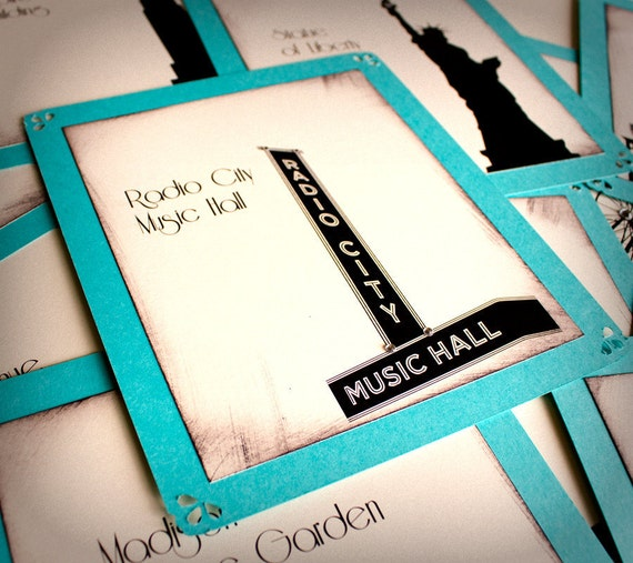 NYC Wedding Table Number Cards Tiffany Robins Egg Blue Cream Black New York State Landmarks Setting Sign