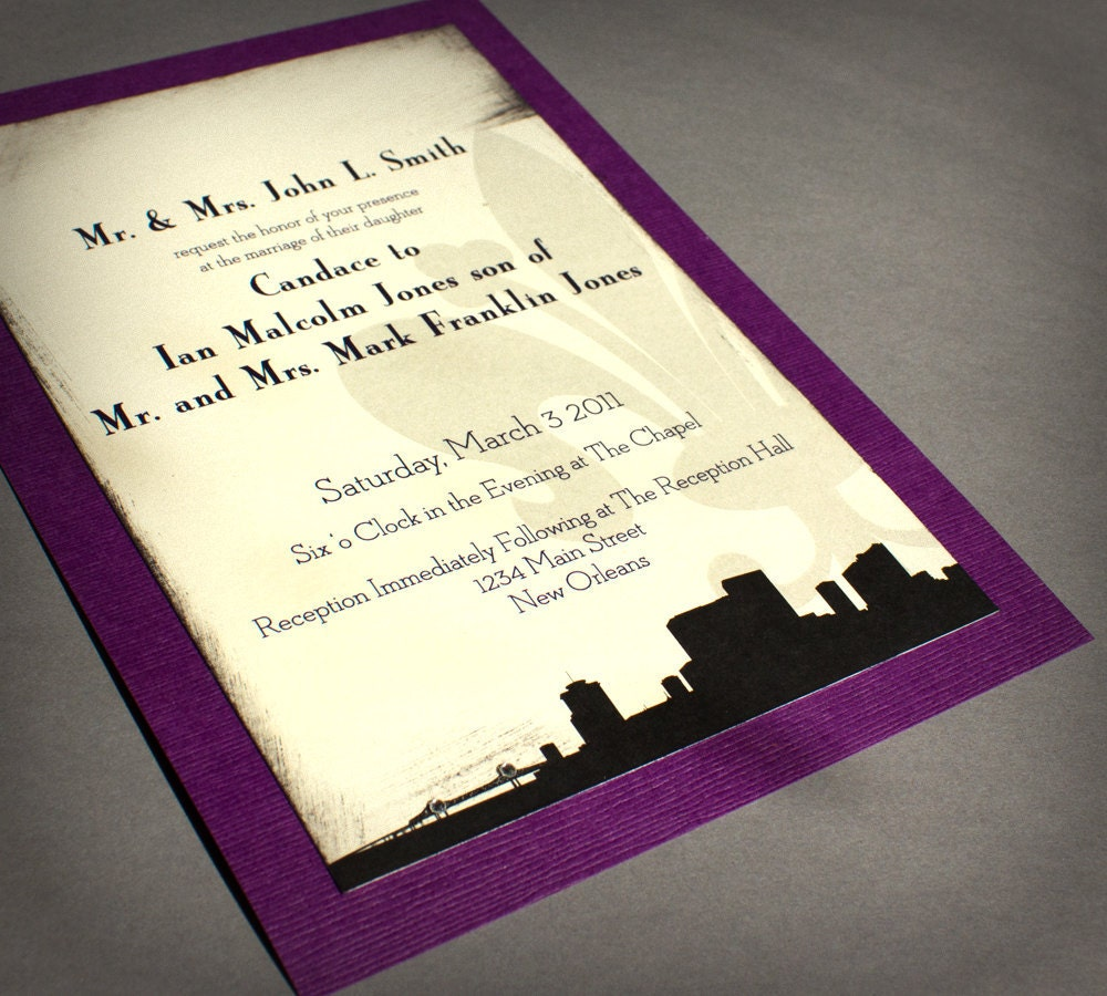 Personalized Skyline Wedding Invitations: New Orleans Wedding Invitation Skyline Black Cream Purple
