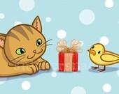 Cat Bird Greeting Card