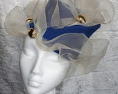 Blue Felt Hat with Gold Crin Brim - Great hat in my sample sale perfect for a wedding or the races