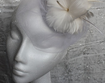 Small Bridal Feather Headpiece - Great bridal hat in my sample sale perfect