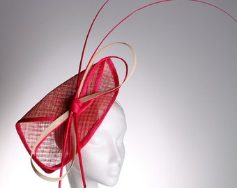 Pink & Ivory Folded Fascinator with quills - stunning headpiece perfect for a wedding or the races, can be made in other colours