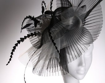 Large Black and White Crin Fascinator - striking headpiece/hat perfect for a wedding or the races, can be made in other colours