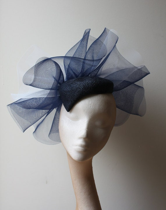 Navy Straw beret with navy & ivory crin detail - Statement hat great for standing out at the races or a wedding, can be made in other colors