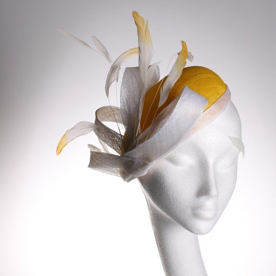 Yellow and White Sinamay Beret - Striking hat in my sample sale, great for a wedding or the races