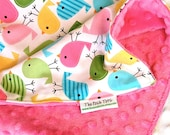 Baby Girl Blanket - Birds Zoology with Pink Minky - Baby Toddler Newborn