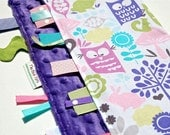 Baby Girl Blanket with Ribbon Tags - Forest Life Purple