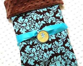 Baby Blanket for Baby Boy or Baby Girl  - Dandy Damask Teal Spa with Brown Minky Dot