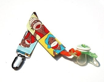 Soothie Clip - Boy Pacifier Clip - Girl Pacifier Holder - Sock Monkey Faces