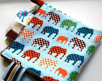 Baby Boy Tag Blanket - Urban Elephants with Minky
