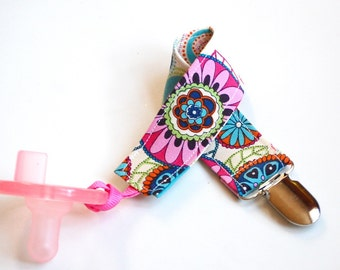 Pacifier Clip - Soothie Pacifier Clip - Pacifier Holder - Kaleidoscope Baby Girl