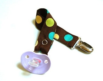 Pacifier Clip - Pacifier Holder - Mam Pacifier Clip - Brown Lime Polka Dots