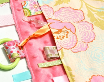 Minky Tag Ribbon Blanket - Fresh Poppies for Baby Girls