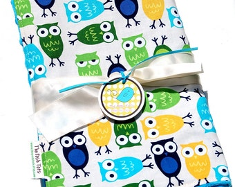 Baby Blanket - Zoologie Owls with Your Choice of Minky - Toddler Blanket
