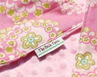 Baby Girl Blanket - Daisy Chain - Baby Bedding - Toddler Blanket - Minky Blanket